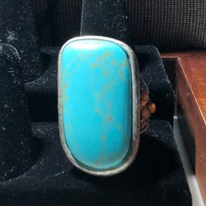 Lucky Brand Large Turquoise Silver Ring Sz 8 *R1*